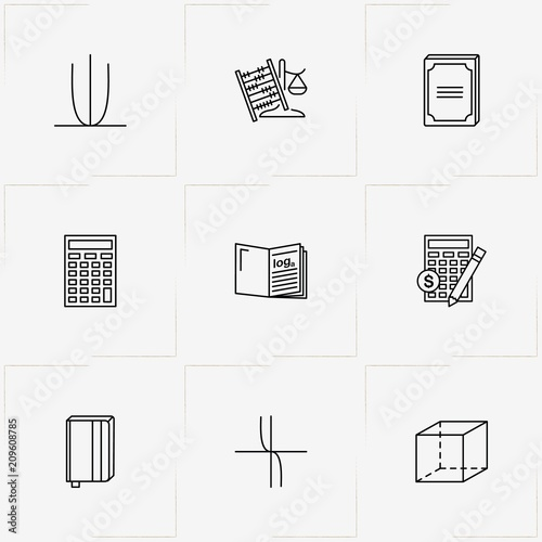 Mathematics line icon set with coordinate axis, mathematics figures and abacus Canvas Print