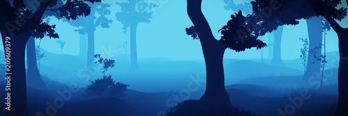 Foto op Aluminium Blauw foggy fantasy forest banner