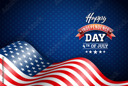 Obraz na płótnie Happy Independence Day of the USA Vector Illustration