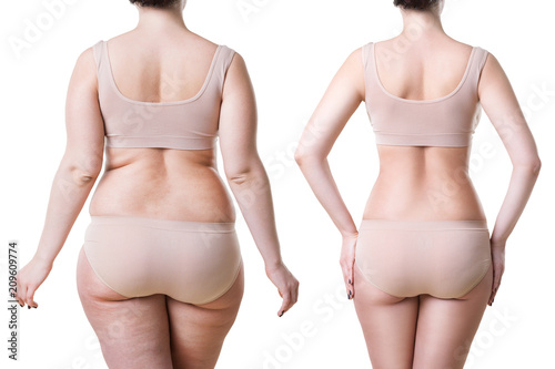 Woman's body before and after weight loss isolated on white background Wallpaper Mural
