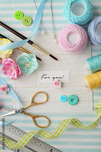 Scrapbook Materials Making Of Greeting Cards Buy This Stock Photo
