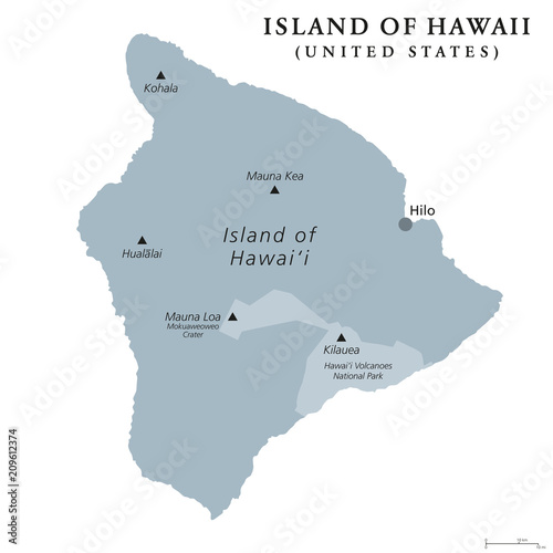 Island of Hawaii, gray colored political map. Largest island ...