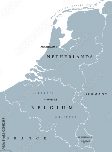 Fototapeta Benelux countries, gray colored political map