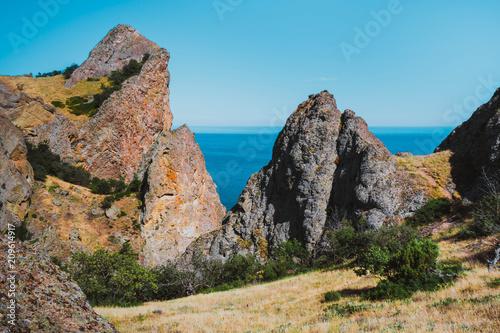 Tuinposter Grijze traf. Mountain landscape