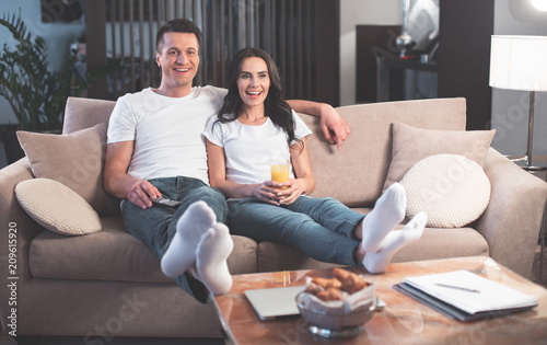 Superb Full Length Portrait Of Excited Married Couple Is Watching Theyellowbook Wood Chair Design Ideas Theyellowbookinfo