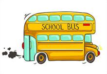Hand Drawn Yellow School Bus W...