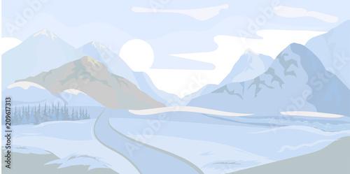 Foto op Aluminium Purper Winter landscape background. Vector