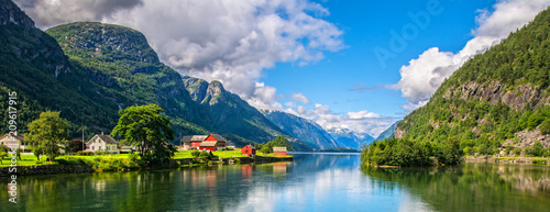 Poster Scandinavia Amazing nature view with fjord and mountains. Beautiful reflection. Location: Scandinavian Mountains, Norway. Artistic picture. Beauty world. The feeling of complete freedom
