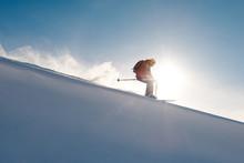 Skier Rides Freeride On Powder...