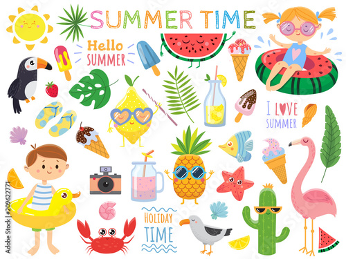 Summer Set With Cute Elements Funny Fruits Drinks Tropical Leafs Ice Cream And Bird Kids On Swimming Circles Vector Illustration On White Background Buy This Stock Vector And Explore Similar Vectors At Adobe