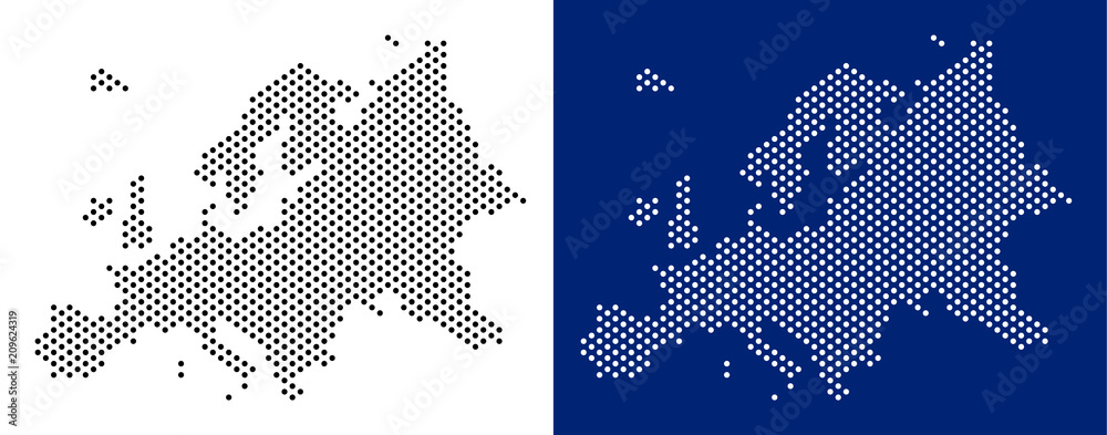 Fototapeta Dotted Europe map. Vector geographic map on white and blue backgrounds. Vector concept of Europe map constructed of round points.