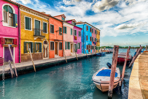 Foto op Plexiglas Venetie Colorful houses along the canal, island of Burano, Venice, Italy