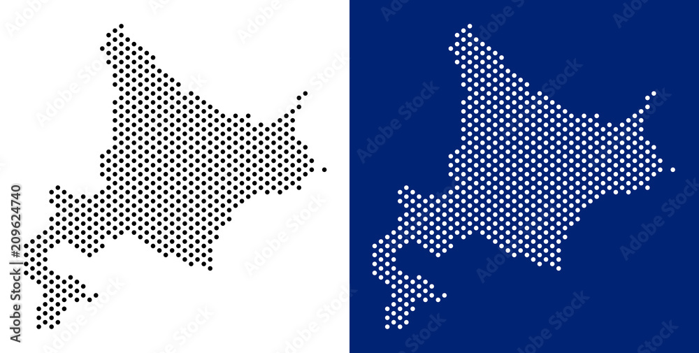 Fototapety, obrazy: Dotted Hokkaido Island map. Vector geographic map on white and blue backgrounds. Vector mosaic of Hokkaido Island map composed from spheric points.