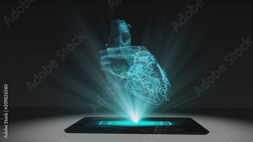 Photo Heart health projection futuristic holographic display hologram technology