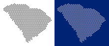 Pixel South Carolina State Map. Vector Geographic Map On White And Blue Backgrounds. Vector Composition Of South Carolina State Map Designed Of Spheric Dots.