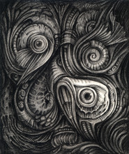 Art Surreal Under The Sea. Hand Pencil Drawing On Paper.