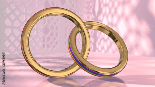 Lgbt Wedding Rings | Same Sex Marriage Couple Gay Pride Lgbt Wedding Rings 3d Render