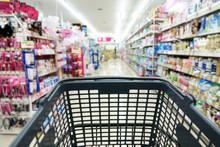 Shopping Basket At  Supermarket