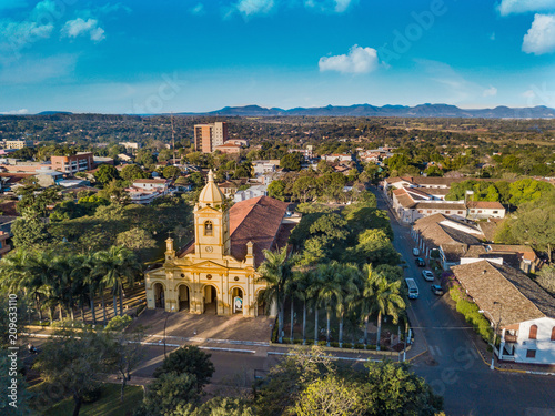 Foto op Aluminium Zuid-Amerika land Aerial view of the big new church in Villarrica - Paraguay