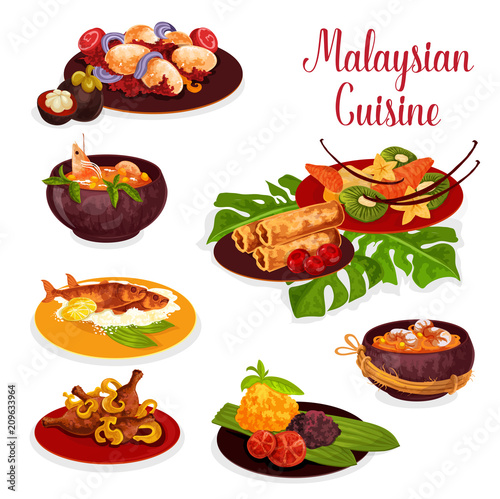 Fotografía  Malaysian cuisine icon with exotic dinner dish