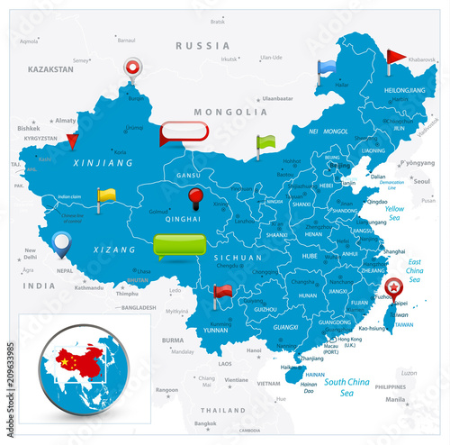 China Map and glossy icons on map Poster