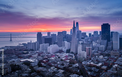 San Francisco financial district skyline at sunrise