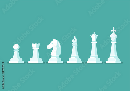 Leinwand Poster Chess piece vector icons set