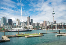 Scenery View Of Viaduct Harbour In Auckland, New Zealand.