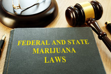 Federal And State Marijuana Laws And Gavel In A Court.
