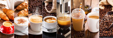 Coffee Collage Of Various Cups