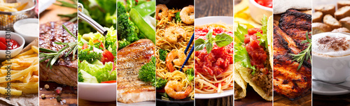 Foto op Canvas Restaurant collage of food products