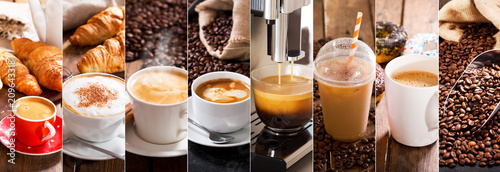 Foto auf AluDibond Kaffee coffee collage of various cups