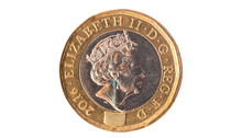 One Pound Coin Isolated On Whi...
