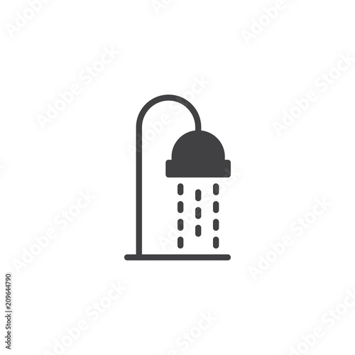 Water Shower Vector Icon Filled Flat Sign For Mobile Concept And