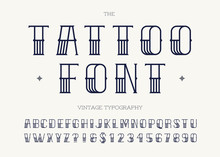 Tattoo Font Black Color. Retro...