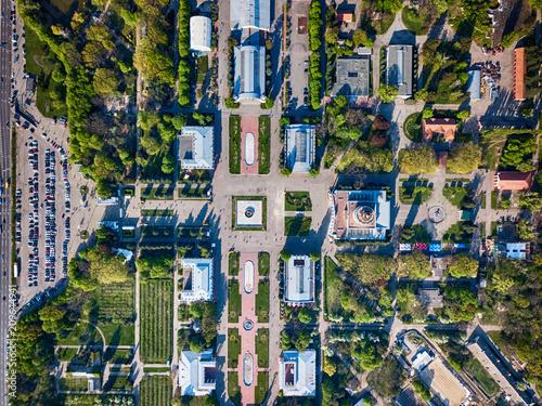 Fotobehang Historisch geb. Top view of the territory of the National Exhibition Center in Kiev, Ukraine.