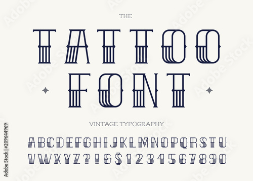 Tattoo font black color. Retro font sans serif style for party poster, printing on fabric, t shirt, promotion, decoration, stamp, label. Cool modern alphabet vintage typography. Vector 10 eps