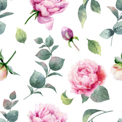 Panel Szklany Podświetlane Peonie Watercolor vector hand painting seamless pattern of peony flowers and green leaves.