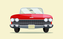 Retro Red Car Vintage Isolated. Front View.  Vector Flat Style  Illustration