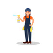 Woman cleaner with spray bottle of cleaning liquid and rags. Young smiling girl in working uniform. Flat vector design for advertising poster
