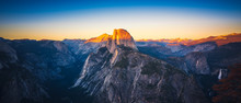 Panoramic Sunset View Of Half Dome From  Glacier Point In Yosemite National Park