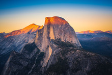 Sunset View Of Half Dome From  Glacier Point In Yosemite National Park