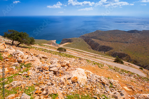 Fotografie, Obraz  Twisted mountain road to the Seitan limania beach on Crete, Greece