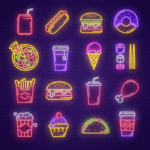 Fast Food And Drink Neon Light...