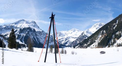 Ski Langlauf und Stöcke Skifahrer mit Alpenpanorama6