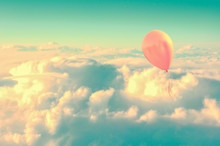 Pink Air Balloon Flying High In The Sky Above The Clouds, Vintage Process