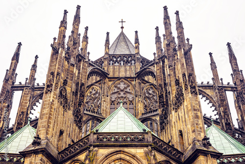 Fotografie, Obraz  Gothic architectured St. Vitus Cathedral from bottom