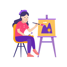 Young Woman Painter Sitting Near Easel With Color Palette And Paintbrush. Happy Artist Girl On Chair Drawing Picture With Landscape Painting On Canvas.