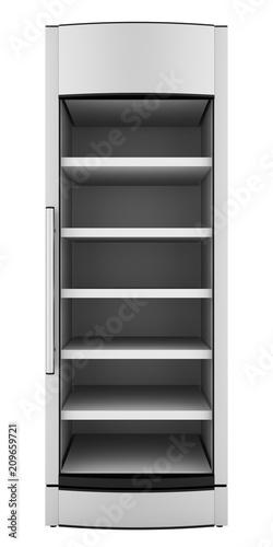 empty market fridge for beverages isolated on white background