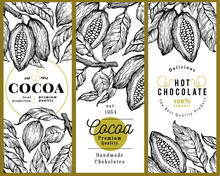 Cocoa Bean Tree Banner Template Set. Chocolate Cocoa Beans Background. Vector Hand Drawn Illustration. Vintage Style Illustration.
